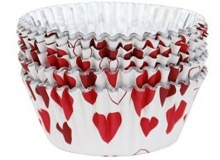 "! PME ""Metallic HEARTS Standard Baking cups"" - ΘΗΚΕΣ ΨΗΣΙΜΑΤΟΣ FOIL ΚΑΡΔΙΕΣ 50mm σετ 30 (κωδ. 600825)"